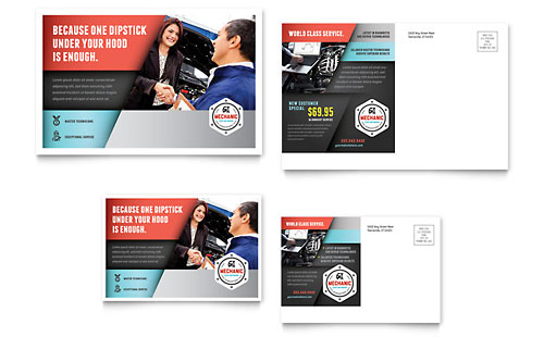 Auto Mechanic Postcard Template