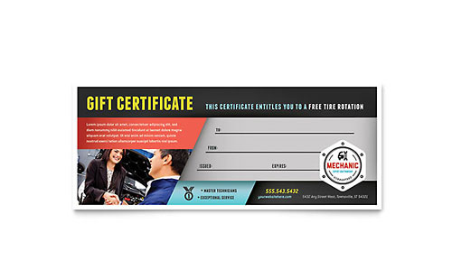Auto Mechanic Gift Certificate Template