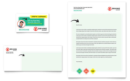 Driving School Business Card & Letterhead Template