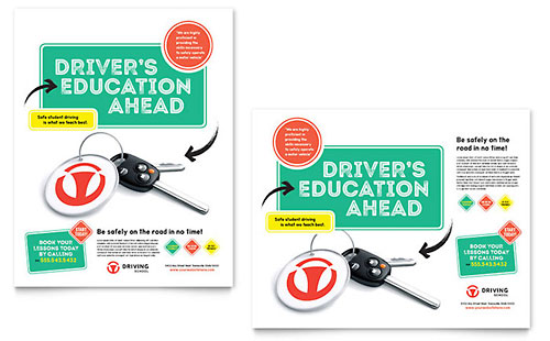 Driving School Poster Template