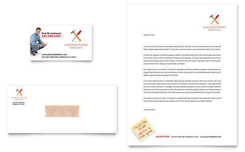 Handyman Services Business Card & Letterhead Template