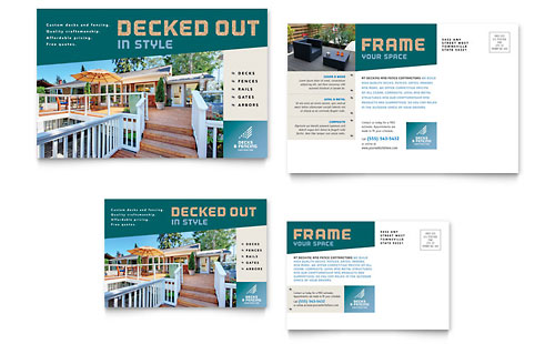 Decks & Fencing Postcard Template