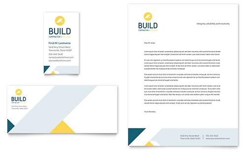 Contractor Business Card & Letterhead Template