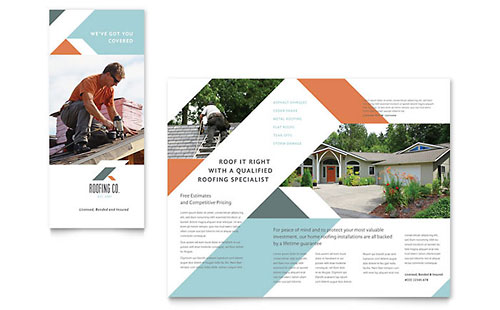 Roofing Company - Sample Tri-Fold Brochure Template