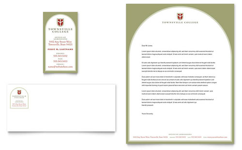 College & University Business Card & Letterhead Template