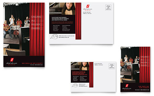 Music School Postcard Template