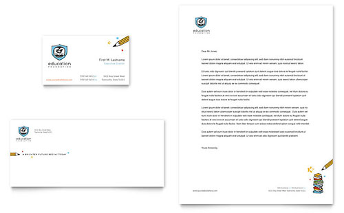 Education Foundation & School Business Card & Letterhead Template