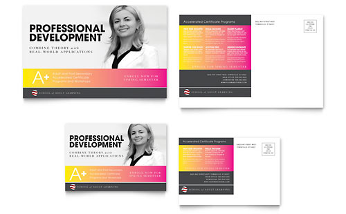 Adult Education & Business School Postcard Template