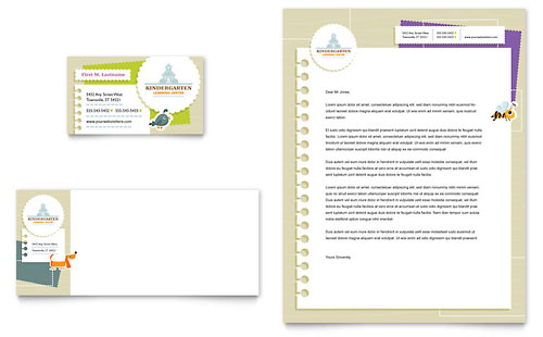 Kindergarten Business Card & Letterhead Template