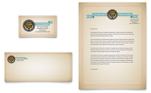 Tutoring School Business Card & Letterhead Template