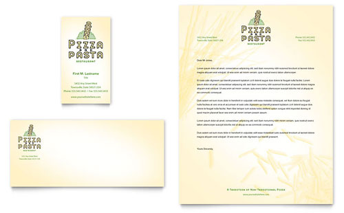Italian Pasta Restaurant Business Card & Letterhead Template