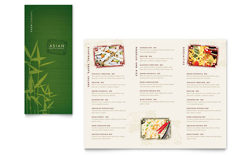 Asian Restaurant Take-out Brochure Template
