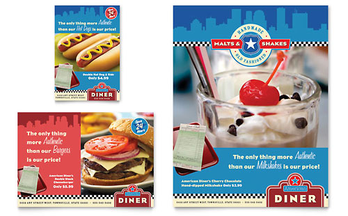 American Diner Restaurant Flyer & Ad Template