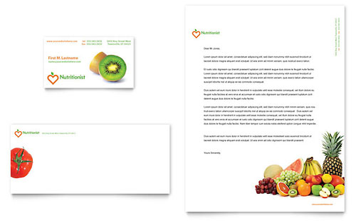 Nutritionist & Dietitian Business Card & Letterhead Template