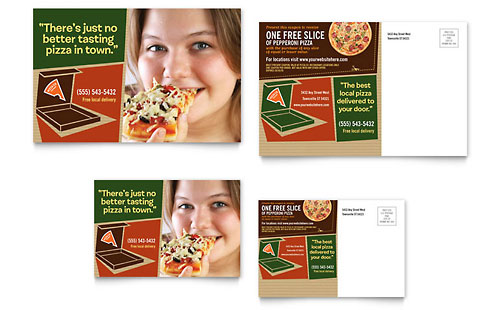 Pizza Pizzeria Restaurant Postcard Template