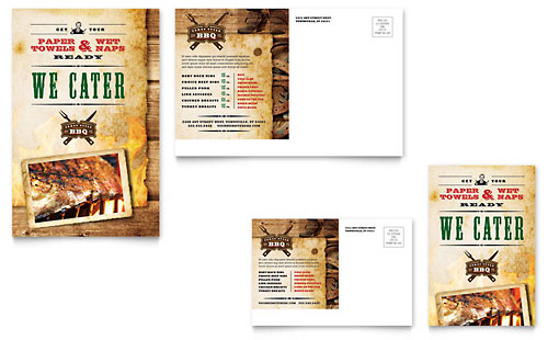 Steakhouse BBQ Restaurant Postcard Template
