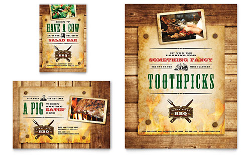 Steakhouse BBQ Restaurant Flyer & Ad Template