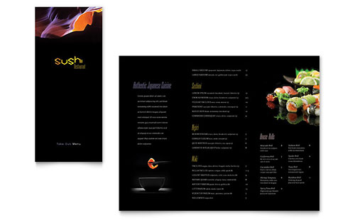 Sushi Restaurant Take-out Brochure Template