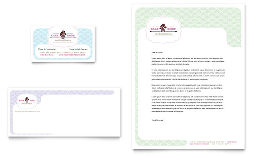 Bakery & Cupcake Shop Business Card & Letterhead Template