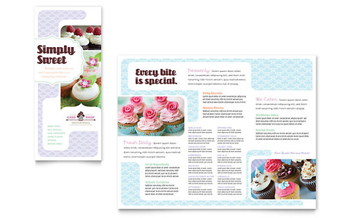 Bakery & Cupcake Shop Tri Fold Brochure Template