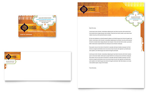Indian Restaurant Business Card & Letterhead Template