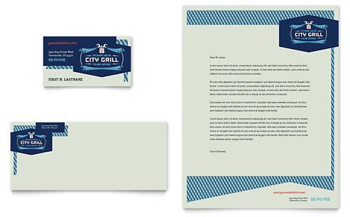 Fine Dining Restaurant Business Card & Letterhead Template