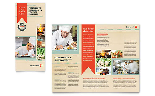 Culinary School Tri Fold Brochure Template