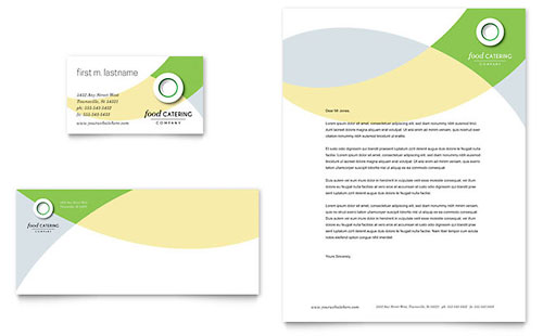 Food Catering Business Card & Letterhead Template
