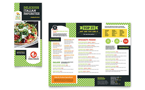 Pizza Parlor Take-out Brochure Template