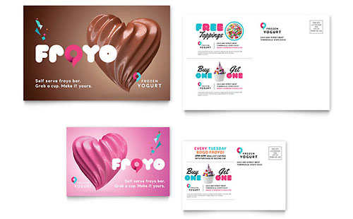 Frozen Yogurt Shop Postcard Template