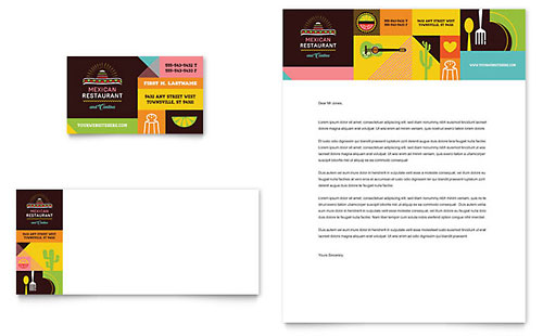 Mexican Food & Cantina Business Card & Letterhead Template
