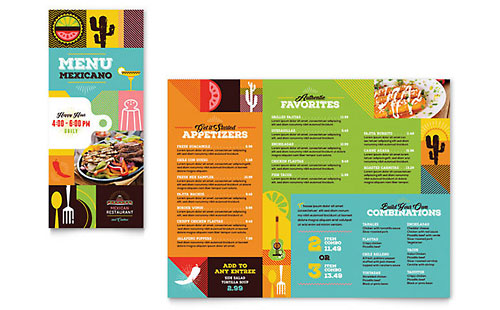 Mexican Food & Cantina Take-out Brochure Template