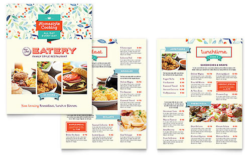 Family Restaurant Menu Template - Pages