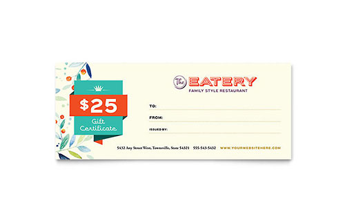 Family Restaurant - Sample Gift Certificate Template