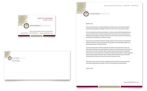 Financial Consulting Business Card & Letterhead Template