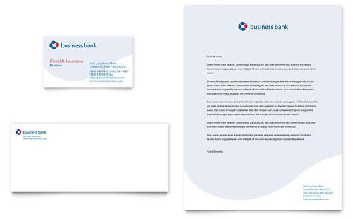 Business Bank Business Card & Letterhead Template