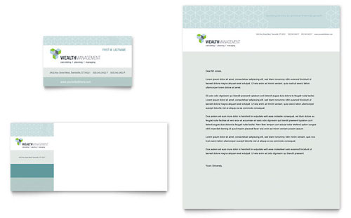 Wealth Management Services Business Card & Letterhead Template