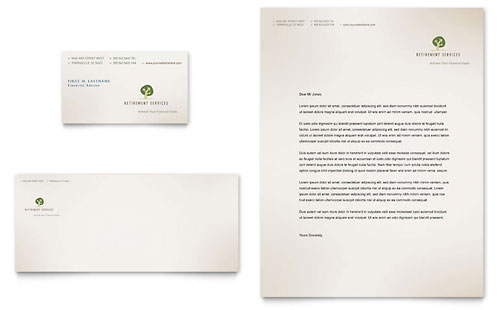 Retirement Investment Services Business Card & Letterhead Template