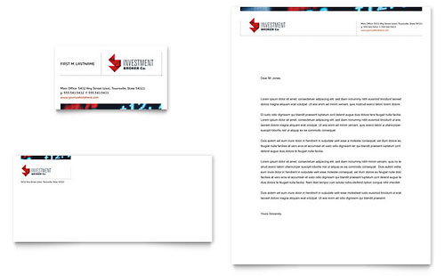 Investment Bank Business Card & Letterhead Template