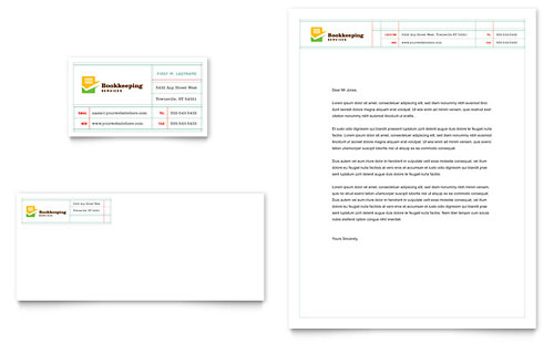 Bookkeeping Services Business Card & Letterhead Template