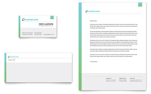 Auditing Firm Business Card & Letterhead Template