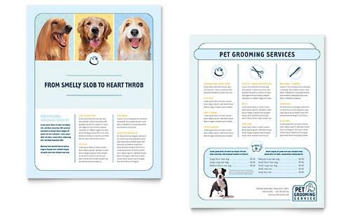 Pet Grooming Service Datasheet Template