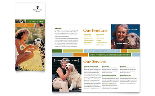 Animals pet care marketing brochures flyers postcards for Clinic brochure template