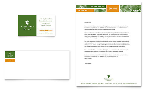 Veterinarian Clinic Business Card & Letterhead Template