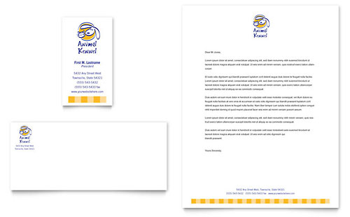 Dog Kennel & Pet Day Care - Business Card & Letterhead Template