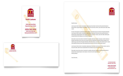 Home Builder & Contractor Business Card & Letterhead Template