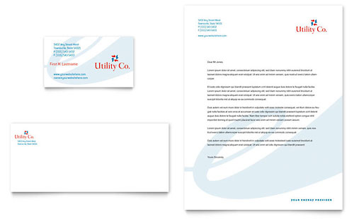 Utility & Energy Company Business Card & Letterhead Template
