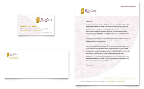 Skin Care Clinic Business Card & Letterhead Template