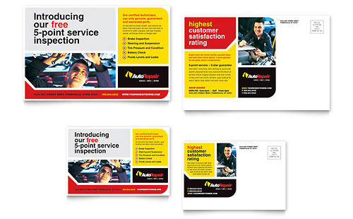 Auto Repair Postcard Template