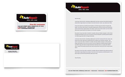 Auto Repair Business Card & Letterhead Template